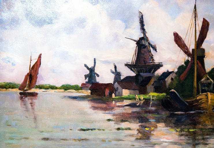 Charles-Francois Daubigny, Windmills in Dordecht, Auvers-sur-Oise